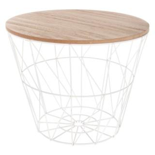 Table à café filaire Kumi - Diam. 38 cm - Blanc