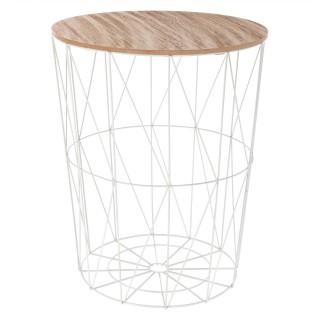 Table à café filaire Kumi - Diam. 47 cm - Blanc