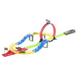 Circuit course avec 2 Loopings et 4 Voitures - Multicolore