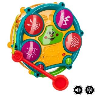 Jouet éveil - Tambour électronique à double face - Multicolore