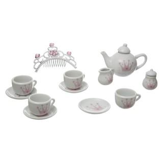 Service à thé enfant en porcelaine - 14 Pièces - Rose