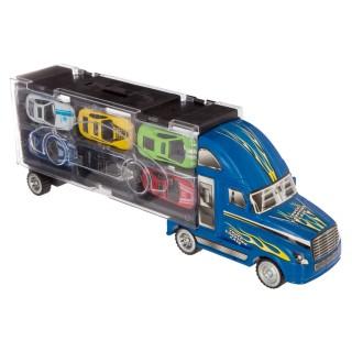 Camions de transport et 6 voitures de courses - Bleu