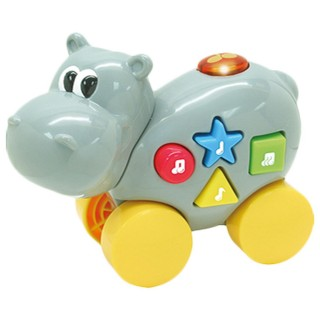 Jouet éveil - Animal musical à roulettes - Hippopotame