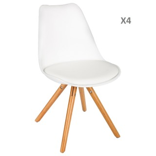 Lot de 4 - Chaise scandinave Raku - H. 44,5 cm - Blanc
