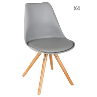 Lot de 4 - Chaise scandinave Raku - H. 44,5 cm - Gris