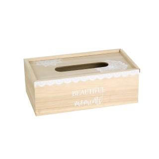 Boîte à mouchoirs en bois Beautiful Moments - Beige