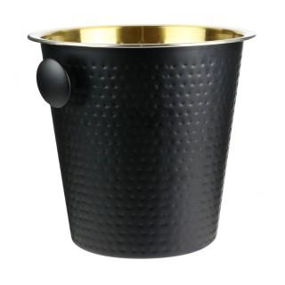 Seau à glaçon martelé mat inox - Diam. 14 cm - Noir et doré