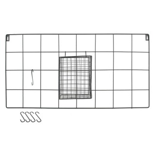 Support mural filaire avec crochets - L. 60 x l. 30 cm - Argent