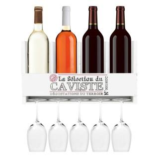 Etagère murale bouteilles et verres à vin - 40 x H. 22 cm - Blanc