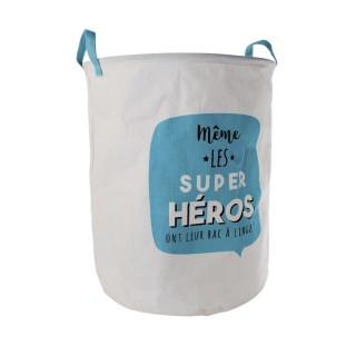 Panier à linge enfant Super Héros - Diam. 40 cm - Bleu