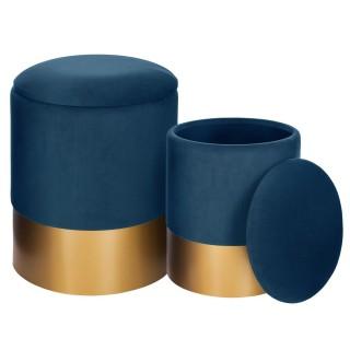 2 Poufs coffres rond Spirit - Diam. 32/36 cm - Bleu