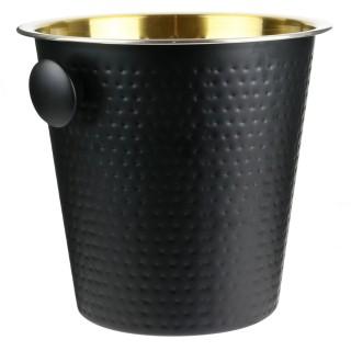 Seau à champagne martelé inox - H. 20,7 cm - Noir et doré