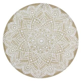 Set de table en tissu Ethnical Life - Diam. 37 cm - Beige et blanc