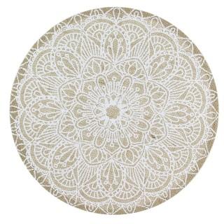 Set de table en tissu Ethnical Life - Diam. 37 cm - Blanc et beige