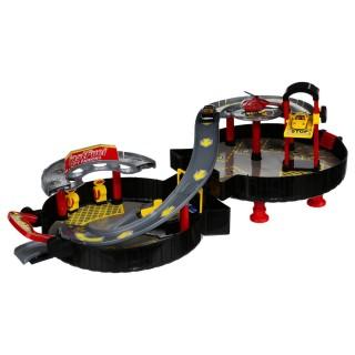 Garage circuit avec 3 Voitures - Noir