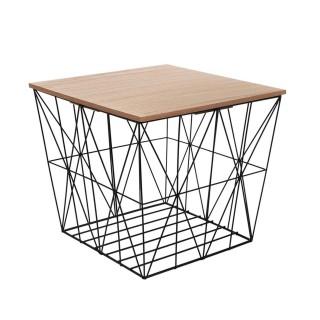 Table coffre filaire - 38 x H. 33,7 cm - Noir