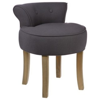 Tabouret Firmin - Assise en lin - H. 58 cm - Gris Moyen