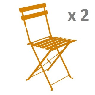 Lot de 2 - Chaise de jardin pliante Camarque - Orange