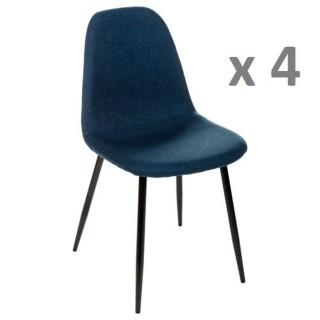 Lot de 4 - Chaise Nokas - Pied en métal - Bleu navy