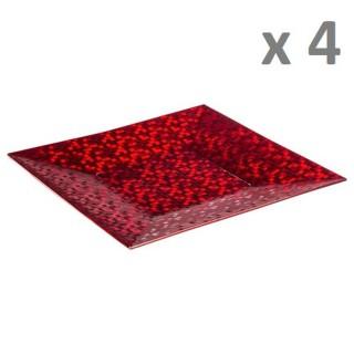 Lot de 4 - Assiette de présentation Pixel - Vaiselle de Noël - Rouge