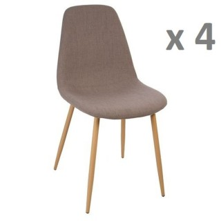 Lot de 4 - Chaise Roka - Taupe