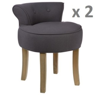 Lot de 2 - Tabouret Firmin - Assise en lin - H. 58 cm - Gris Moyen