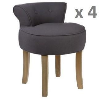 Lot de 4 - Tabouret Firmin - Assise en lin - H. 58 cm - Gris Moyen