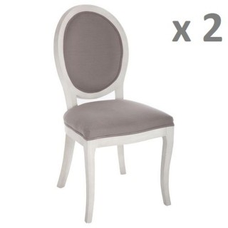 Lot de 2 - Chaise médaillon Cleon - Lin et bois naturel - Taupe