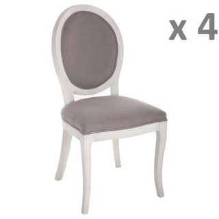 Lot de 4 - Chaise médaillon Cleon - Lin et bois naturel - Taupe