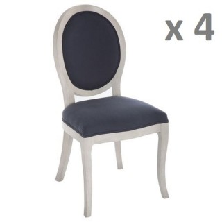Lot de 4 - Chaise médaillon Cleon - Lin et bois naturel - Bleu marine