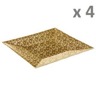 Lot de 4 - Assiette de présentation Pixel - Vaiselle de Noël - Or