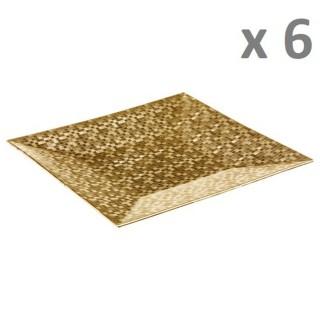 Lot de 6 - Assiette de présentation Pixel - Vaiselle de Noël - Or