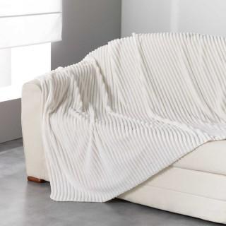 Plaid flanelle jacquard Zeline - 180 x 220 cm - Blanc naturel