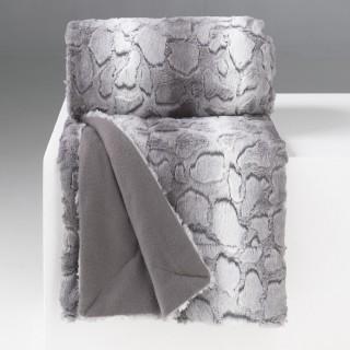 Plaid imitation fourrure Sibérie - 127 x 152 cm - Gris