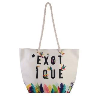 Sac de plage Exotic - L. 50 x H. 35 cm - Blanc