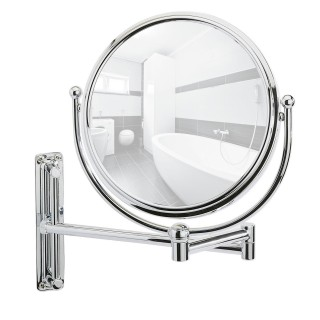 Miroir mural grossissant de salle de bain Deluxe - Diam. 19 cm - Argent