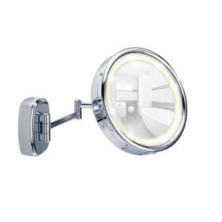 Miroir mural grossissant de salle de bain Touch - Diam. 16 cm - Argent