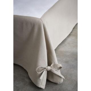 Cache sommier avec nouettes - 160 x 200 cm - Taupe