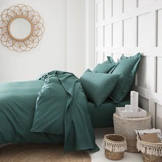Parure de lit - 100% coton - 240 x 260 cm - Vert émeraude
