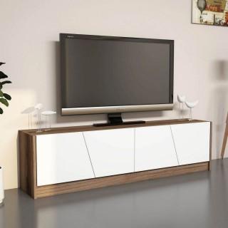 Meuble TV design Gold - L. 150 x H. 40 cm - Marron noix