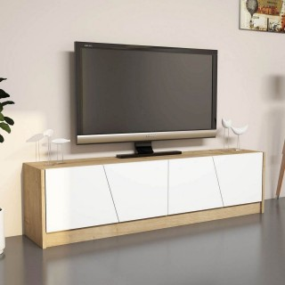 Meuble TV design Gold - L. 150 x H. 40 cm - Marron chêne