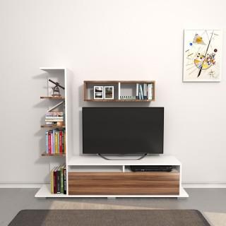 Meuble TV design avec étagère Argo - L. 150 x H. 125 cm - Marron noix