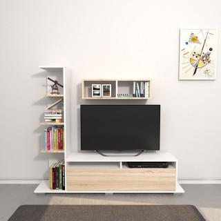 Meuble TV design avec étagère Argo - L. 150 x H. 125 cm - Marron somana
