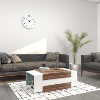 Table basse design Simon - L. 100 x H. 35 cm - Marron noix