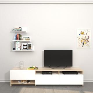 Meuble TV avec étagère design Campbell - L. 180 x H. 40 cm - Marron somona