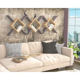 Etagère murale design Riki - L. 170 x H. 59 cm - Gris