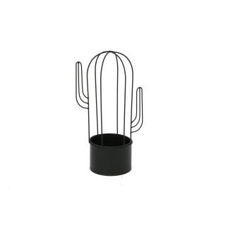 Cache pot en métal Cactus - H. 34 cm - Noir