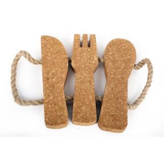Dessous de plat en liège Couverts - L. 20 cm - Marron