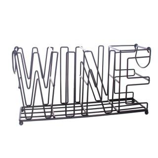 Range-bouteilles en métal Wine - L. 37 cm - Noir