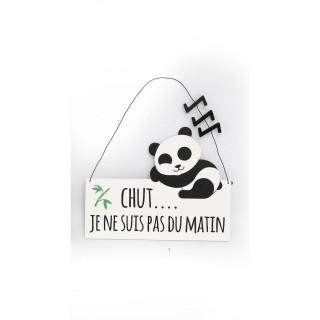 Plaque murale enfant Panda - L. 20 x H. 16 cm - Pas du matin